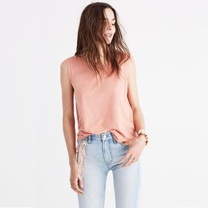 Madewell pink whisper cotton muscle tank